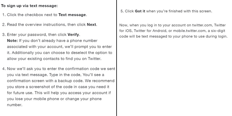 two factor twitter signup via sms