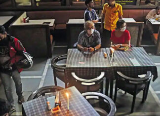 Inside of an local Mumbai Restaurant   Hotel and Restaurant Industry Mumbai slowed down due to covid