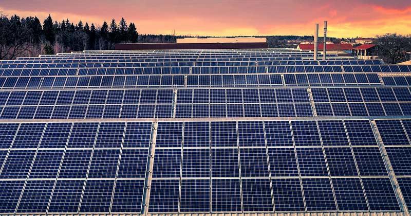 Solar Panels Aligned in Lines   Solar